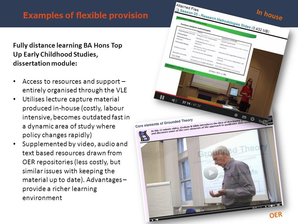 Examples of flexible provision Fully distance learning BA Hons Top Up Early Childhood Studies, dissertation module: Access to resources and support – entirely organised through the VLE Utilises lecture capture material produced in-house (costly, labour intensive, becomes outdated fast in a dynamic area of study where policy changes rapidly) Supplemented by video, audio and text based resources drawn from OER repositories (less costly, but similar issues with keeping the material up to date).