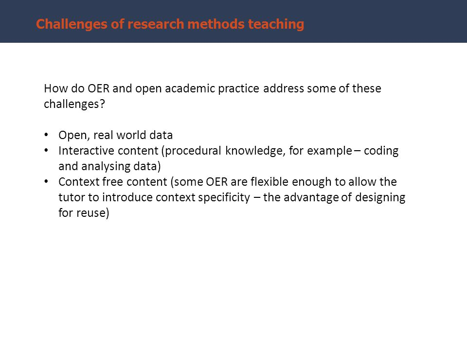 Open, real world data Addresses troublesome knowledge – the data is subject specific and situates learning in context.