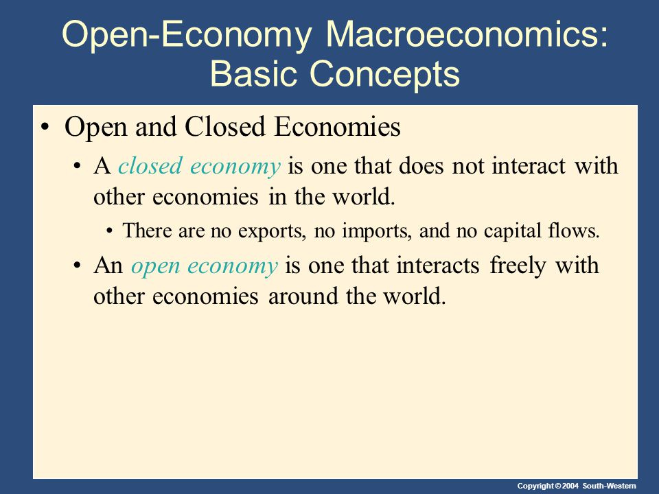 Copyright © 2004 South-Western Open-Economy Macroeconomics: Basic Concepts An Open Economy An open economy interacts with other countries in two ways.