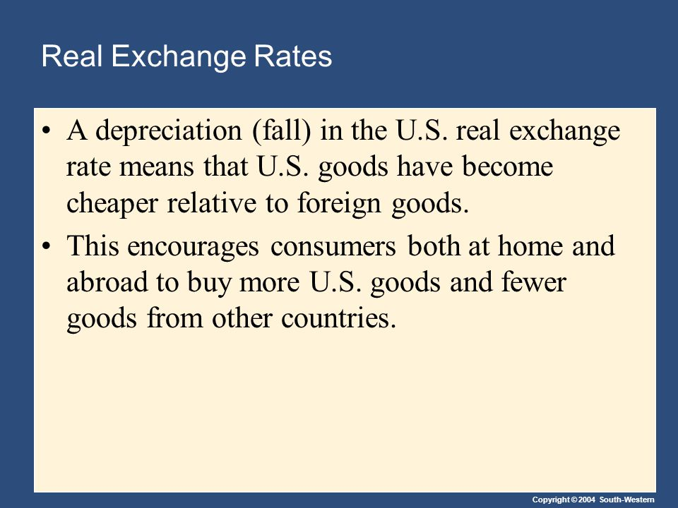 Copyright © 2004 South-Western Real Exchange Rates A depreciation (fall) in the U.S.