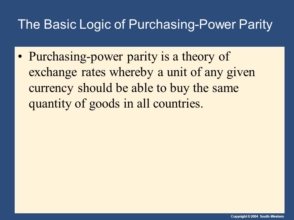 Copyright © 2004 South-Western The Basic Logic of Purchasing-Power Parity Purchasing-power parity is a theory of exchange rates whereby a unit of any given currency should be able to buy the same quantity of goods in all countries.