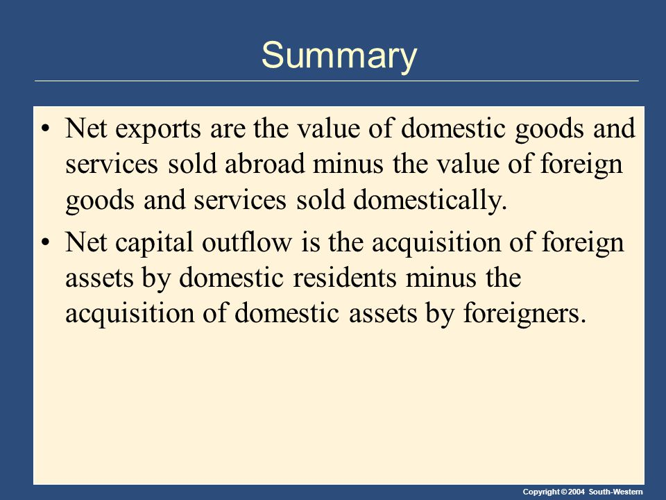 Copyright © 2004 South-Western Summary Net exports are the value of domestic goods and services sold abroad minus the value of foreign goods and services sold domestically.