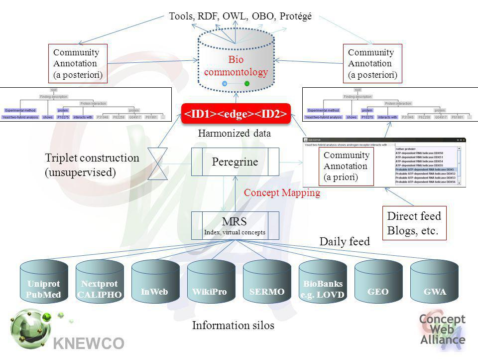 KNEWCO Information silos MRS Index, virtual concepts Daily feed Uniprot PubMed Nextprot CALIPHO InWebWikiProSERMO BioBanks e.g.