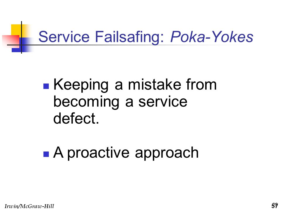 Irwin/McGraw-Hill 28 Service Failsafing: Poka-Yokes Keeping a mistake from becoming a service defect. 57 A proactive approach
