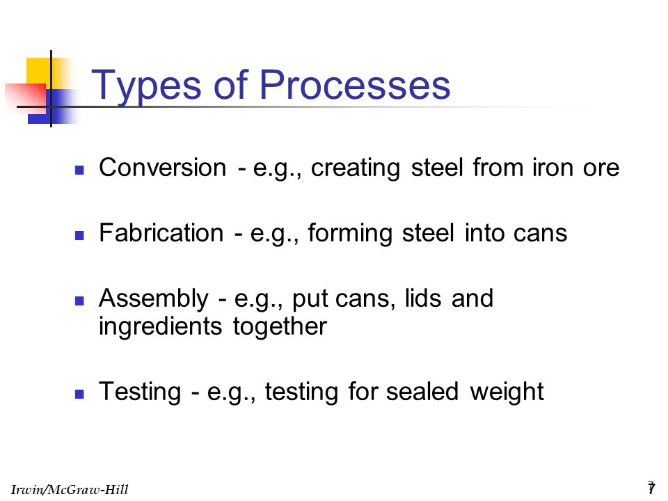 Irwin/McGraw-Hill 7 Types of Processes Conversion - e.g., creating steel from iron ore Fabrication - e.g., forming steel into cans Assembly - e.g., pu