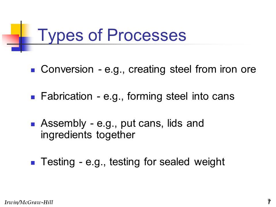 Irwin/McGraw-Hill 8 Process Flow Structures Job shop Batch Assembly Line Continuous Flow 8