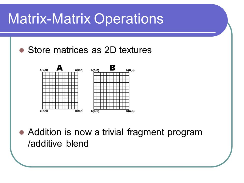 Matrix-Matrix Operations Store matrices as 2D textures Addition is now a trivial fragment program /additive blend