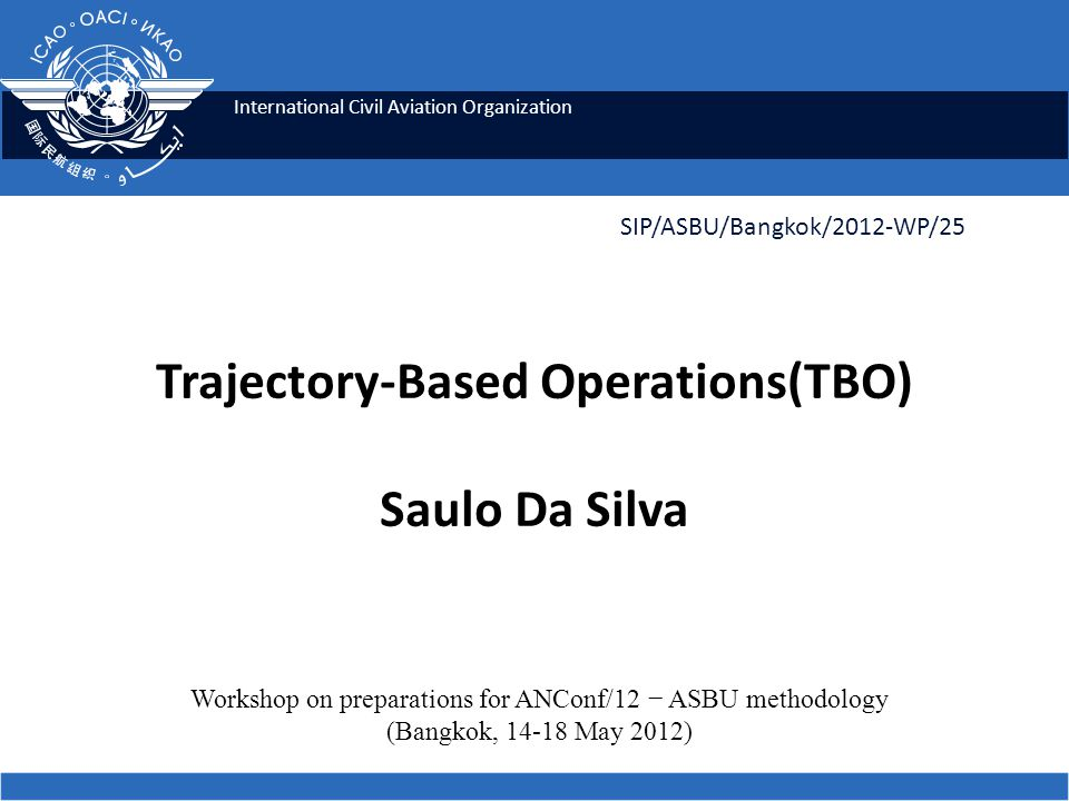 12 Why TBO ICAO SIP 2012 - ASBU workshops Increased flexibility Better predictability Leverages the best of the ground automation and the performance of the aircraft.