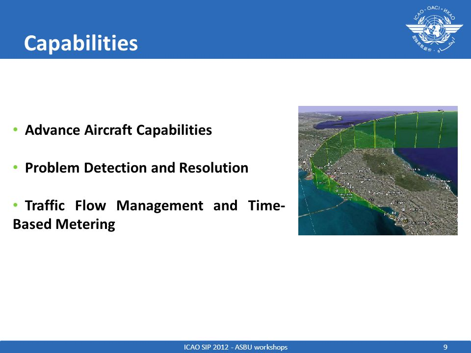 9 Capabilities ICAO SIP 2012 - ASBU workshops Advance Aircraft Capabilities Problem Detection and Resolution Traffic Flow Management and Time- Based Metering