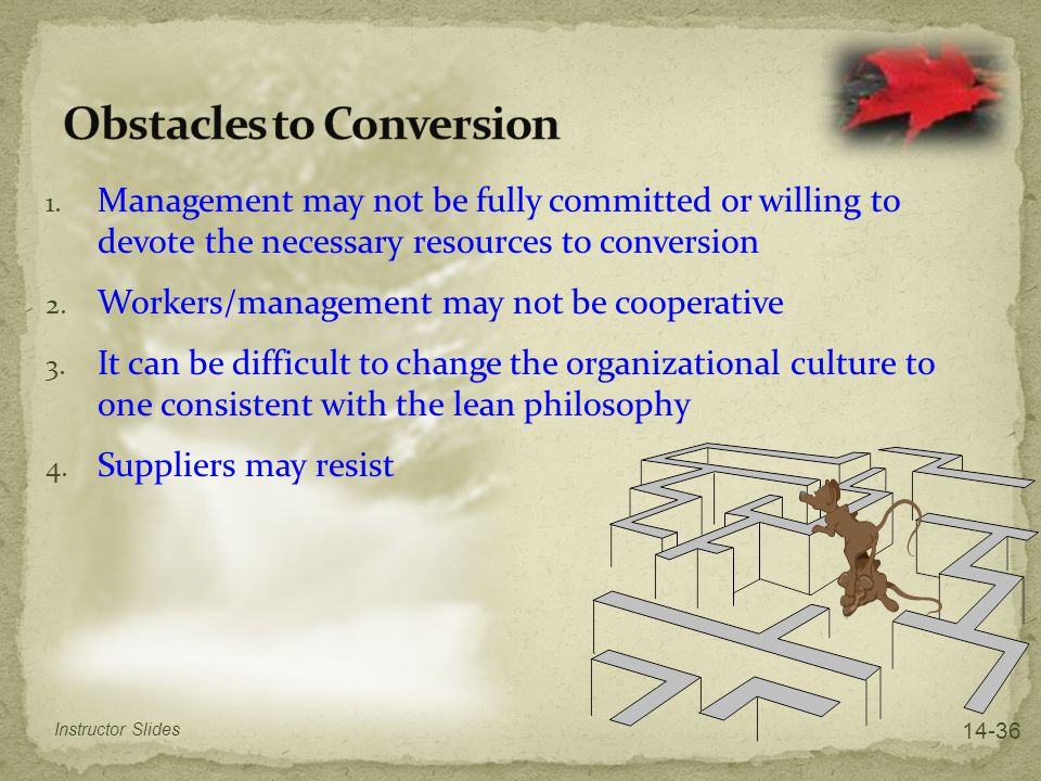 1. Management may not be fully committed or willing to devote the necessary resources to conversion 2. Workers/management may not be cooperative 3. It