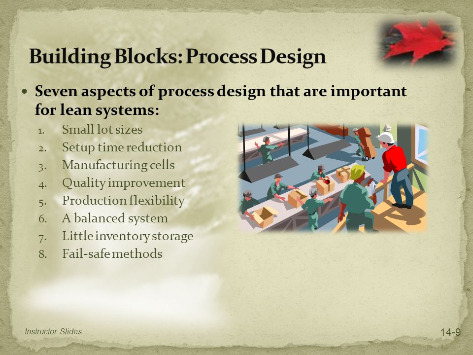 Seven aspects of process design that are important for lean systems: 1. Small lot sizes 2. Setup time reduction 3. Manufacturing cells 4. Quality impr