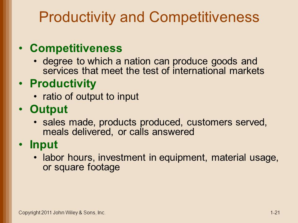 Productivity and Competitiveness Competitiveness degree to which a nation can produce goods and services that meet the test of international markets Productivity ratio of output to input Output sales made, products produced, customers served, meals delivered, or calls answered Input labor hours, investment in equipment, material usage, or square footage Copyright 2011 John Wiley & Sons, Inc.1-21