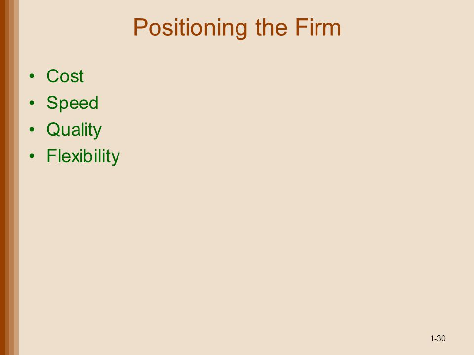 Positioning the Firm Cost Speed Quality Flexibility 1-30