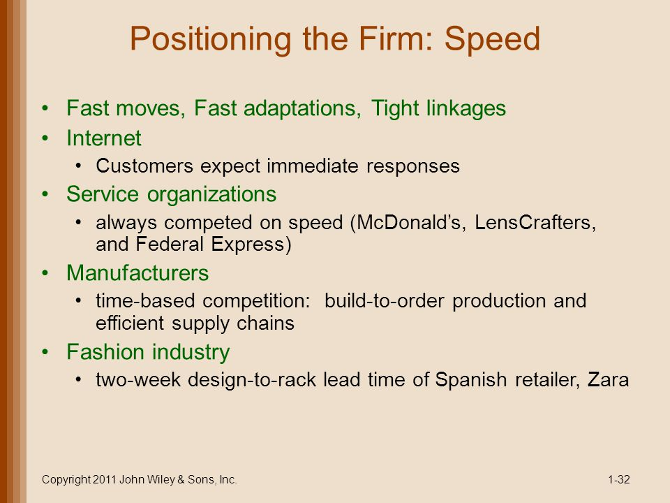 Positioning the Firm: Speed Fast moves, Fast adaptations, Tight linkages Internet Customers expect immediate responses Service organizations always co