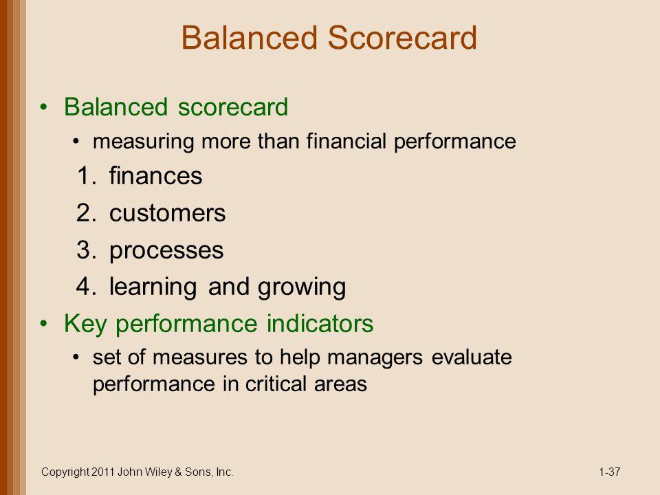 Balanced Scorecard Balanced scorecard measuring more than financial performance 1.finances 2.customers 3.processes 4.learning and growing Key performa