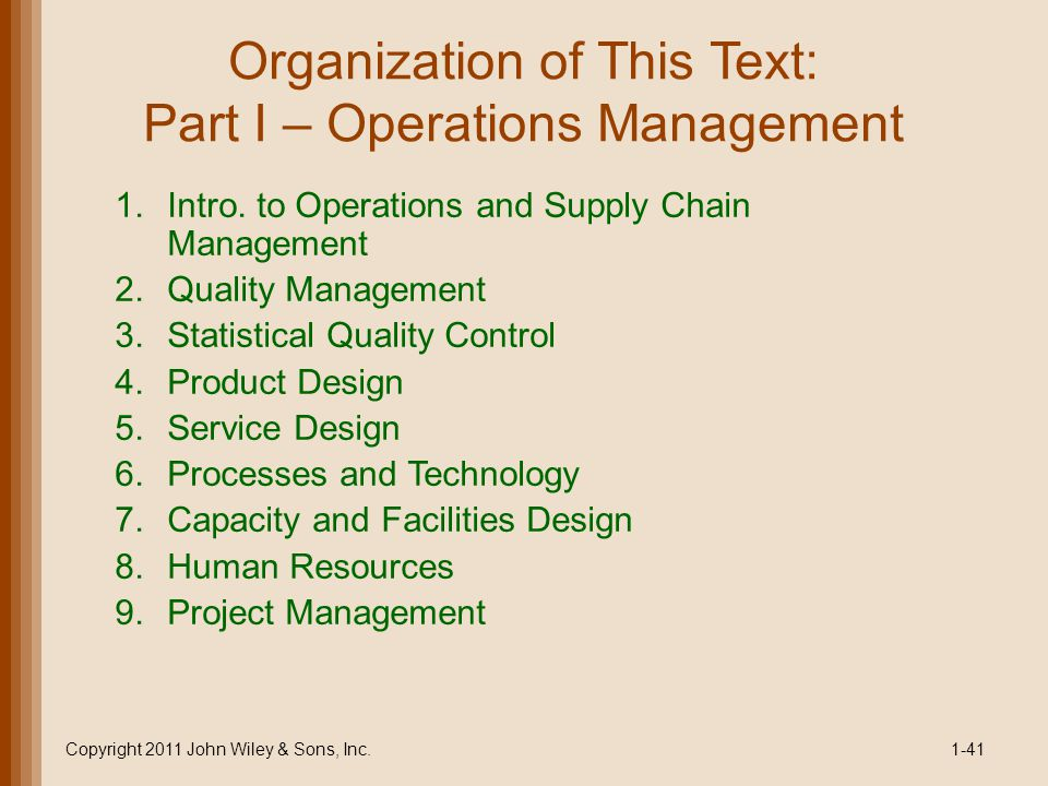 Organization of This Text: Part I – Operations Management 1.Intro.