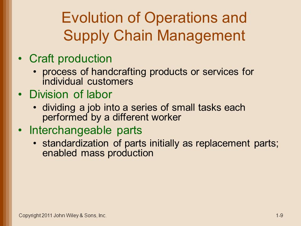 Evolution of Operations and Supply Chain Management Craft production process of handcrafting products or services for individual customers Division of