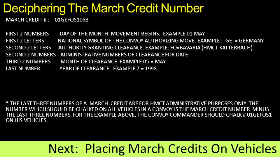 Deciphering The March Credit Number MARCH CREDIT # : 01GEFO51058 FIRST 2 NUMBERS -- DAY OF THE MONTH MOVEMENT BEGINS.
