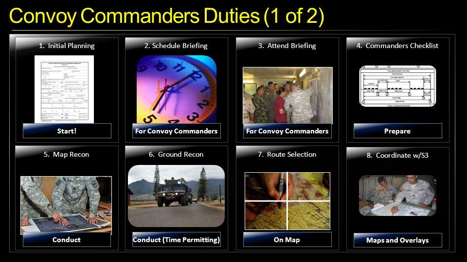 Convoy Commanders Duties (1 of 2) 5.Map Recon6. Ground Recon7.