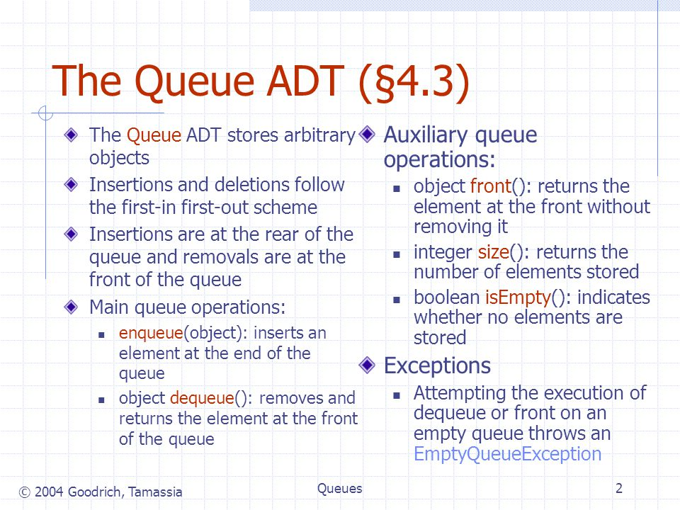 © 2004 Goodrich, Tamassia Queues3 Queue Example OperationOutputQ enqueue( 5 ) – ( 5 ) enqueue( 3 ) – ( 5, 3 ) dequeue() 5 ( 3 ) enqueue( 7 ) – ( 3, 7 ) dequeue() 3 ( 7 ) front() 7 ( 7 ) dequeue() 7 () dequeue() error () isEmpty() true () enqueue( 9 ) – ( 9 ) enqueue( 7 ) – ( 9, 7 ) size( )2 ( 9, 7 ) enqueue( 3 ) – ( 9, 7, 3 ) enqueue( 5 ) – ( 9, 7, 3, 5 ) dequeue() 9 ( 7, 3, 5 )