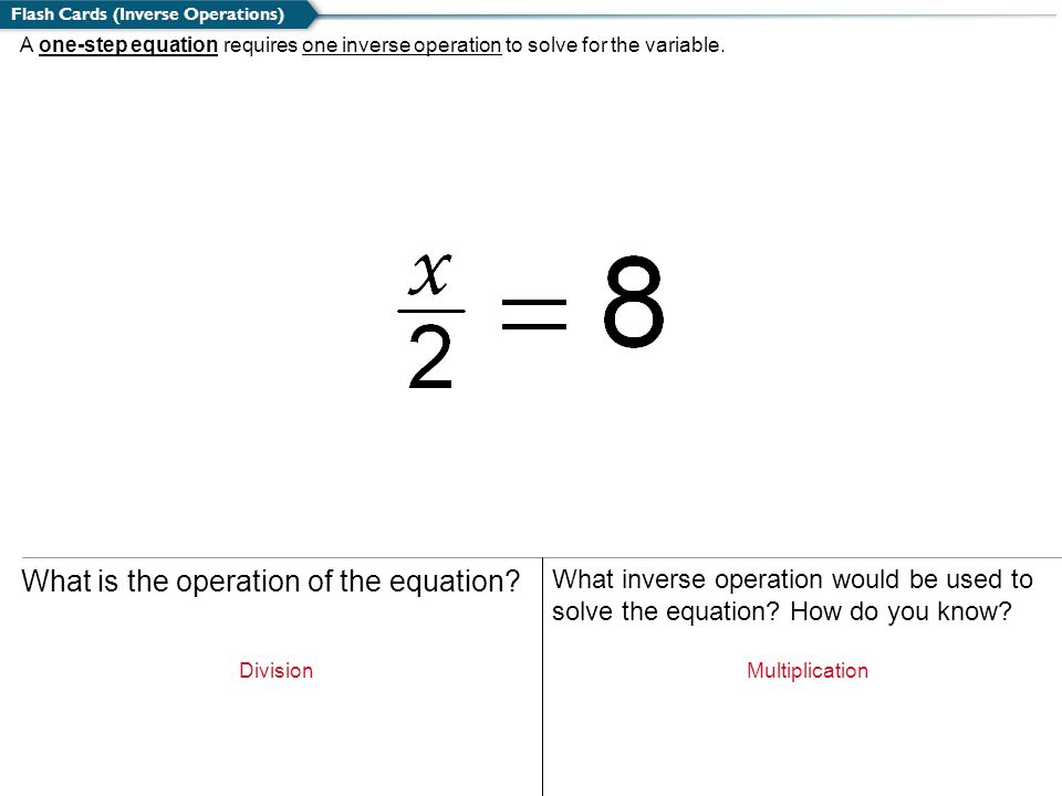 A one-step equation requires one inverse operation to solve for the variable. Flash Cards (Inverse Operations) What is the operation of the equation?