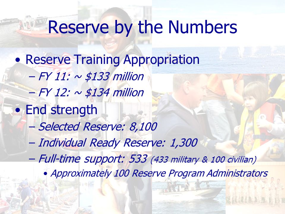 Reserve by the Numbers Reserve Training Appropriation –FY 11: ~ $133 million –FY 12: ~ $134 million End strength –Selected Reserve: 8,100 –Individual Ready Reserve: 1,300 –Full-time support: 533 (433 military & 100 civilian) Approximately 100 Reserve Program Administrators