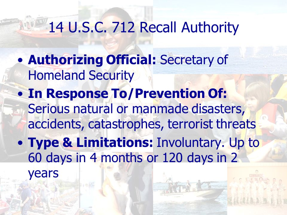Readiness for the Future Core USCGR functions: –Maritime Homeland Security –Domestic/Expeditionary Support to National Defense –Domestic Natural & Manmade Disaster Response & Recovery