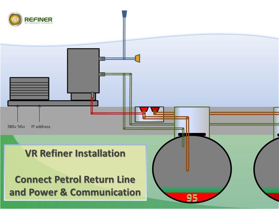 VR Refiner Installation Connect Petrol Return Line and Power & Communication 380v 5KwIP address