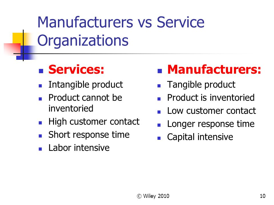 © Wiley 201010 Manufacturers vs Service Organizations Services: Intangible product Product cannot be inventoried High customer contact Short response time Labor intensive Manufacturers: Tangible product Product is inventoried Low customer contact Longer response time Capital intensive