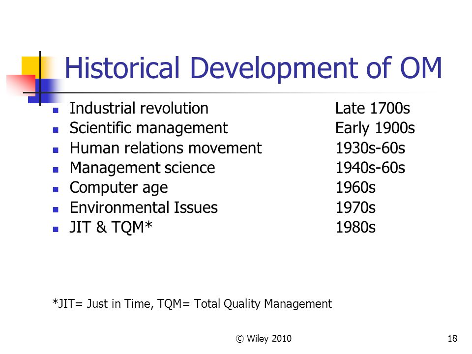© Wiley 201018 Historical Development of OM Industrial revolutionLate 1700s Scientific managementEarly 1900s Human relations movement1930s-60s Management science1940s-60s Computer age1960s Environmental Issues1970s JIT & TQM*1980s *JIT= Just in Time, TQM= Total Quality Management