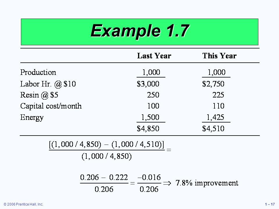 © 2006 Prentice Hall, Inc.1 – 17 Example 1.7