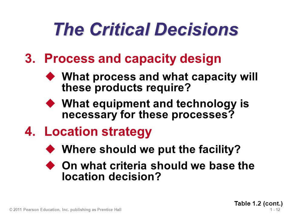 1 - 12© 2011 Pearson Education, Inc. publishing as Prentice Hall The Critical Decisions 3.Process and capacity design  What process and what capacity