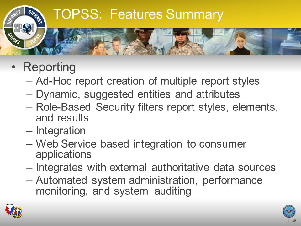 | 20 TOPSS: Features Summary Reporting –Ad-Hoc report creation of multiple report styles –Dynamic, suggested entities and attributes –Role-Based Secur