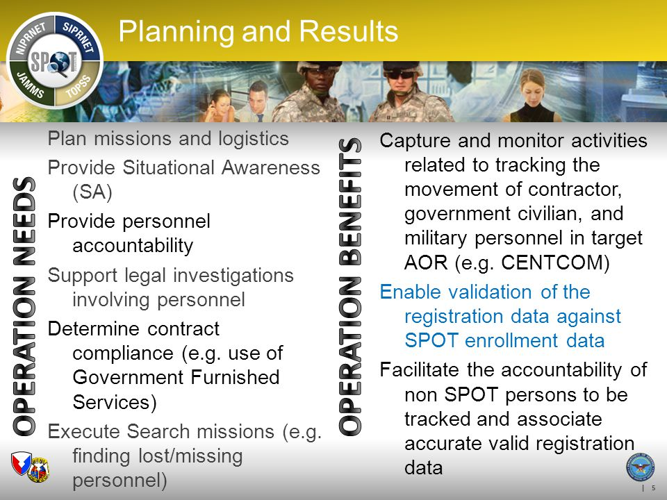 | 5 Planning and Results Plan missions and logistics Provide Situational Awareness (SA) Provide personnel accountability Support legal investigations