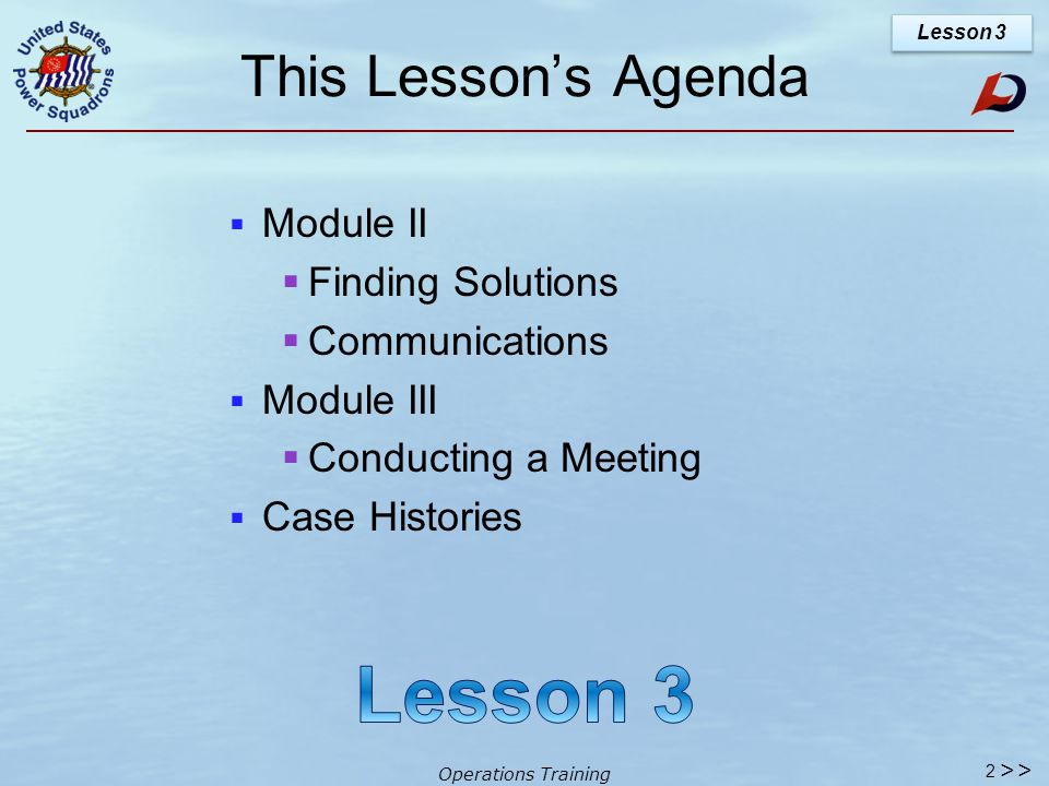 Operations Training Lesson 3 1 >>