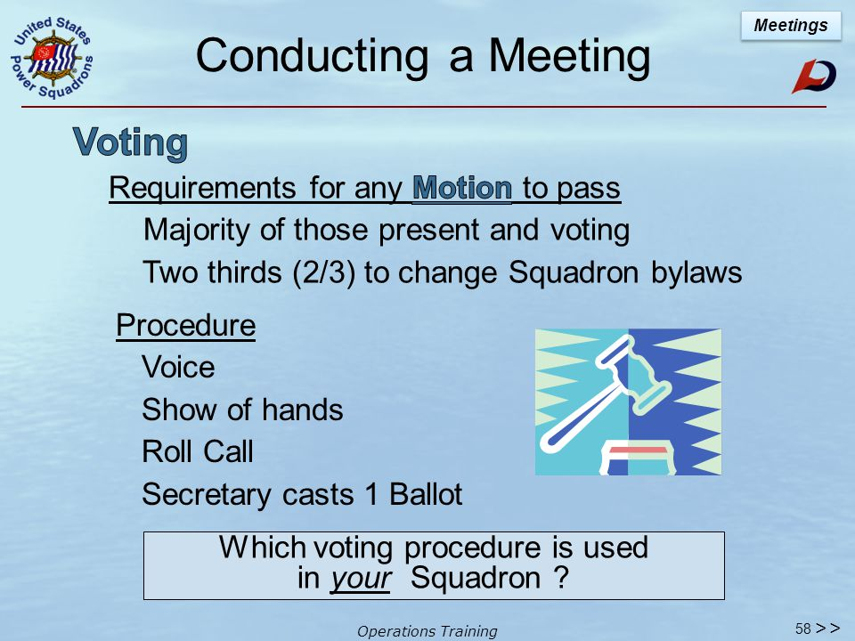 Operations Training 57 Conducting a Meeting Full Membership Meeting % of the total Active membership (per Model bylaws - percentage optional 10% is minimum) >> What is the % of members you need, according to your bylaws .