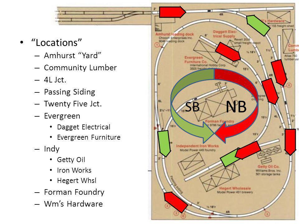 """Locations"" – Amhurst ""Yard"" – Community Lumber – 4L Jct. – Passing Siding – Twenty Five Jct. – Evergreen Dagget Electrical Evergreen Furniture – Indy"