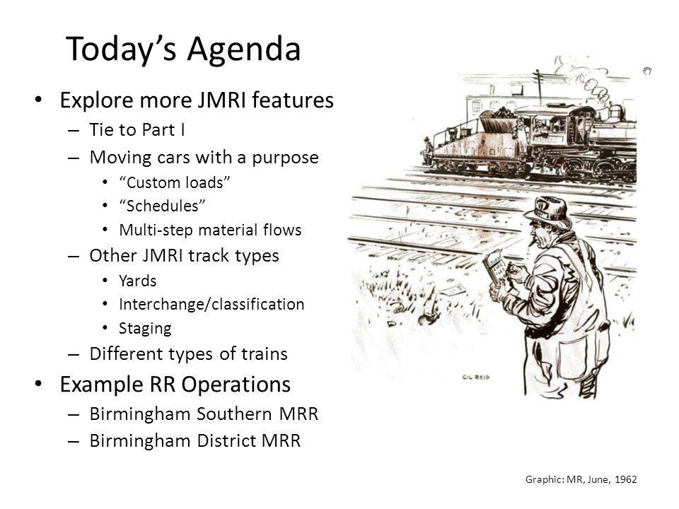 """Graphic: MR, June, 1962 Today's Agenda Explore more JMRI features – Tie to Part I – Moving cars with a purpose """"Custom loads"""" """"Schedules"""" Multi-step m"""