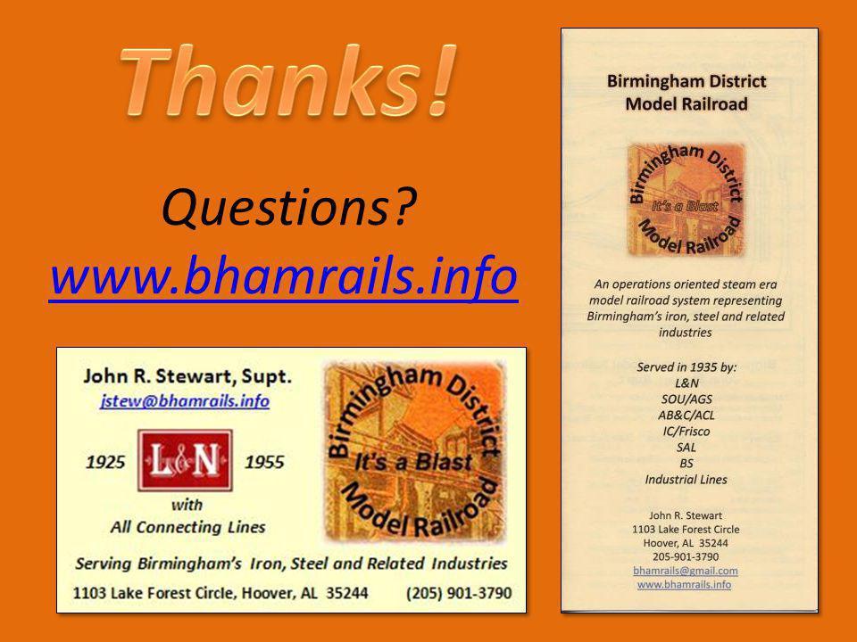 Questions? www.bhamrails.info