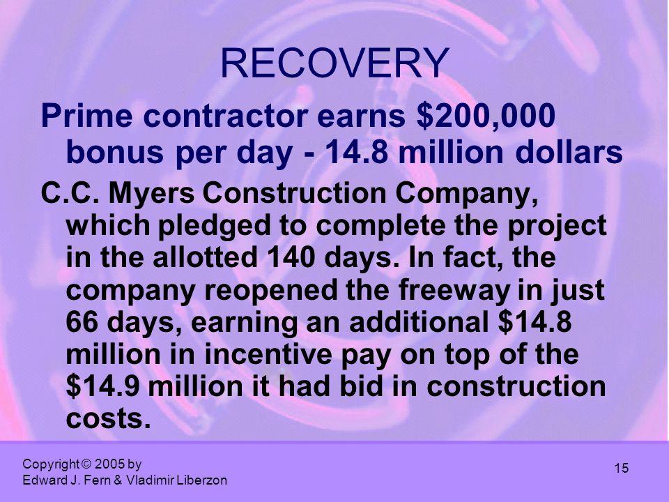 Copyright © 2005 by Edward J. Fern & Vladimir Liberzon 15 RECOVERY Prime contractor earns $200,000 bonus per day - 14.8 million dollars C.C. Myers Con