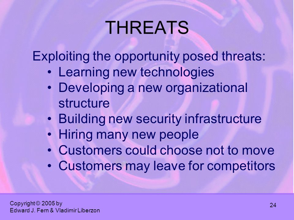 Copyright © 2005 by Edward J. Fern & Vladimir Liberzon 24 THREATS Exploiting the opportunity posed threats: Learning new technologies Developing a new