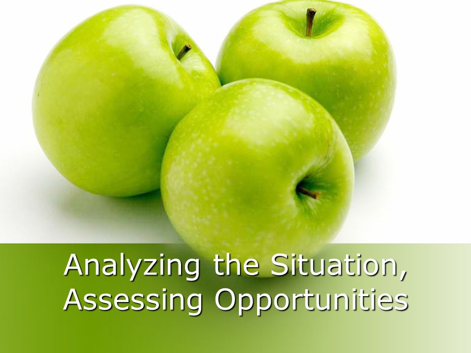 Analyzing the Situation, Assessing Opportunities