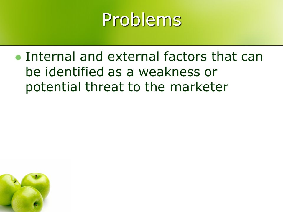 Problems Internal and external factors that can be identified as a weakness or potential threat to the marketer