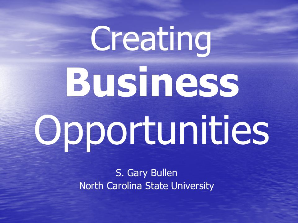 Creating Business Opportunities S. Gary Bullen North Carolina State University