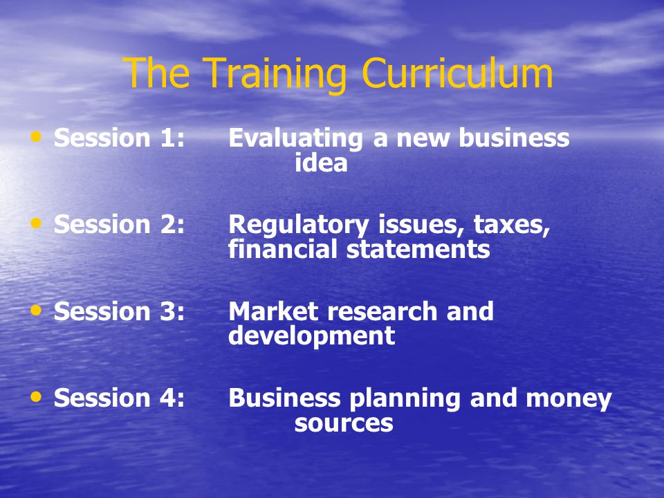 The Training Curriculum Session 1:Evaluating a new business idea Session 2:Regulatory issues, taxes, financial statements Session 3:Market research and development Session 4:Business planning and money sources