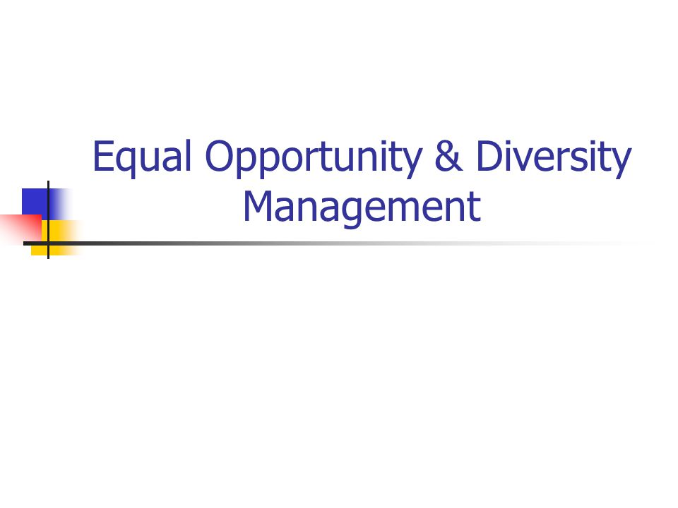 Equal Opportunity & Diversity Management