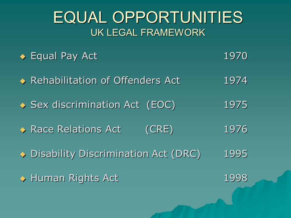 EQUAL OPPORTUNITIES UK LEGAL FRAMEWORK  Equal Pay Act1970  Rehabilitation of Offenders Act1974  Sex discrimination Act (EOC)1975  Race Relations Act (CRE)1976  Disability Discrimination Act (DRC)1995  Human Rights Act1998