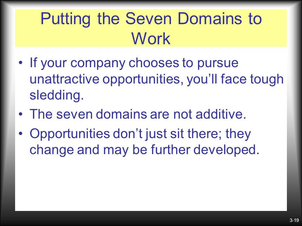 3-19 Putting the Seven Domains to Work If your company chooses to pursue unattractive opportunities, you'll face tough sledding. The seven domains are