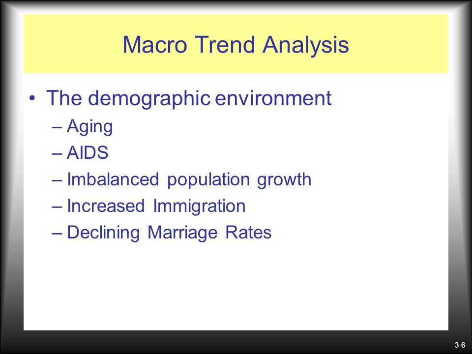 3-6 Macro Trend Analysis The demographic environment –Aging –AIDS –Imbalanced population growth –Increased Immigration –Declining Marriage Rates
