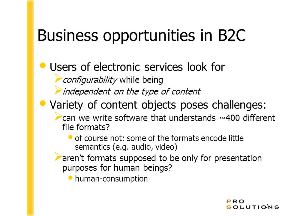 3 Business opportunities in B2C Users of electronic services look for  configurability while being  independent on the type of content Variety of content objects poses challenges:  can we write software that understands ~400 different file formats.